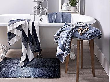 Bath towels and bath mat