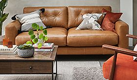 A brown leather sofa