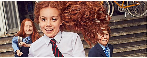 Girls wearing M&S school uniform