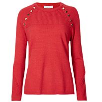 Red button shoulder jumper