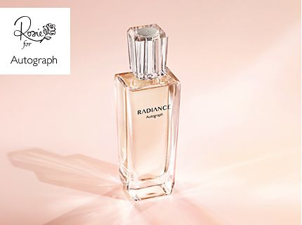 A bottle of Autograph Radiance perfume