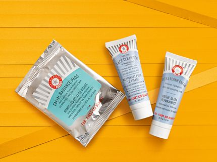 First Aid Beauty's skin care minis on a yellow background