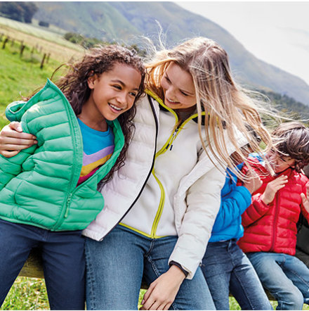 Family outdoors wearing padded jackets