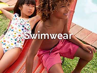 Kids wearing recycled swimwear