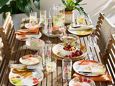 Colourful patterned picnic plates