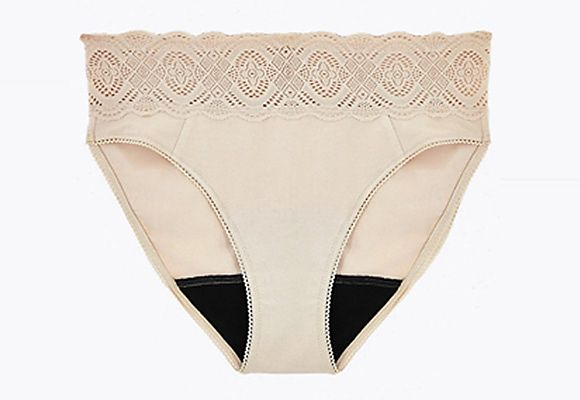 Nude cotton and lace high-leg knickers