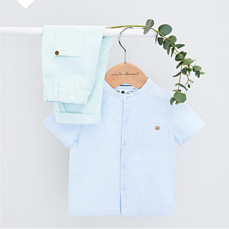 Boys' blue short-sleeve shirt and blue trousers