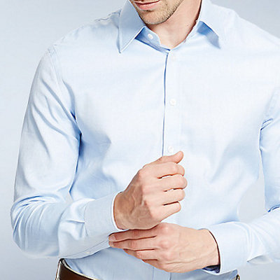 Male model in M&S Made to measure shirt