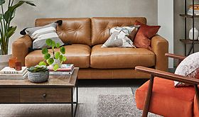 Living room with a leather sofa