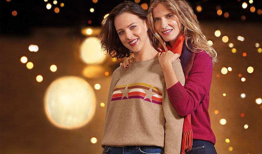 Women wearing cashmere jumpers