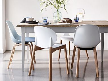 White chairs at a dining table