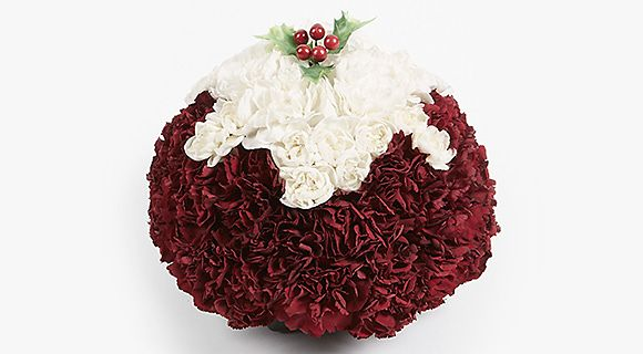 Christmas pudding flower arrangment