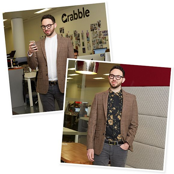 Entrepreneur wearing brown smart jacket with wool in the Grabble office