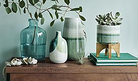 Selection of vases on hallway table