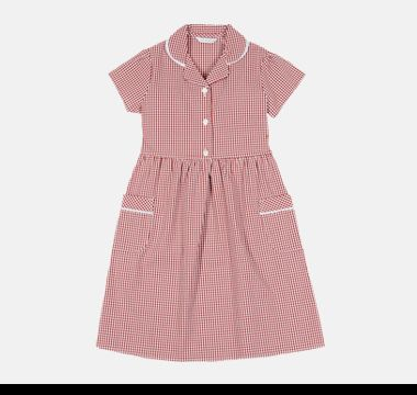 Red cotton gingham M&S school dress