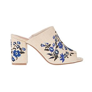 Cream and blue floral embroidered mules
