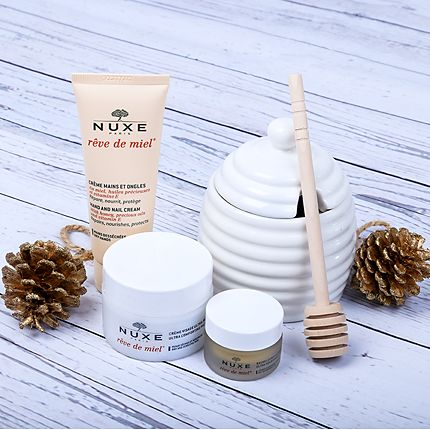 Selection of Nuxe beauty products