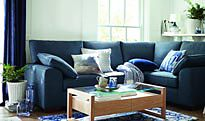 Living room with blue curtain