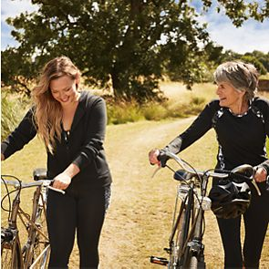 Two women with bikes
