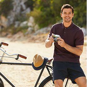 Man wearing burgundy polo shirt