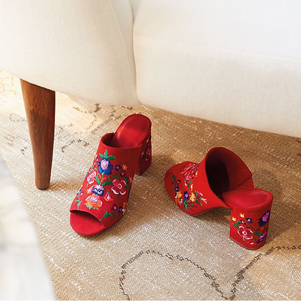 Red embroidered mules
