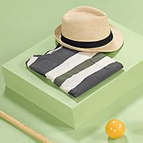 Men's accessories including a straw hat