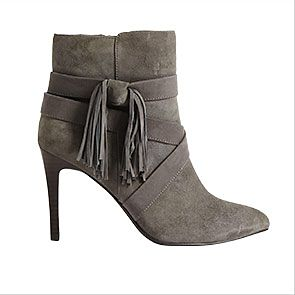 Grey suede tassel ankle boots