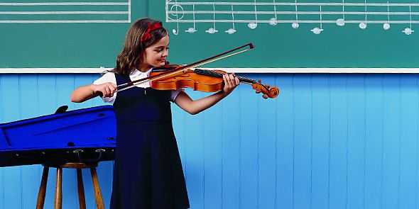 Schoolgirl playing violin