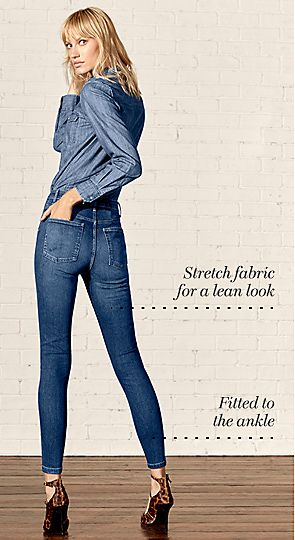 Model wears super skinny jeans