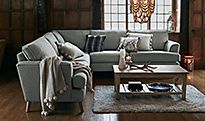 Lincoln sofa in Carron, olive with cushions and storage footstool