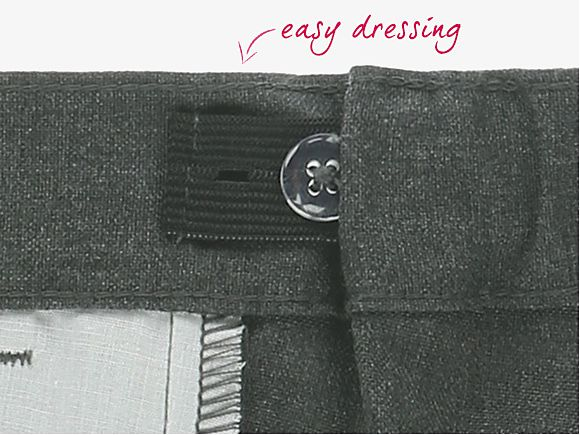Close up of button on Easy Dressing trousers