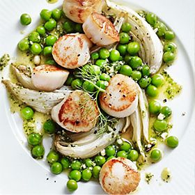 Pan-fried scallops with peas and fennel recipe