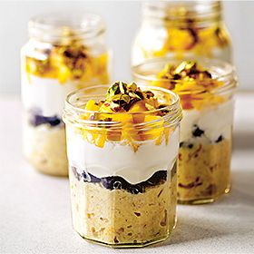 Overnight mango and oat pots for breakfast recipe