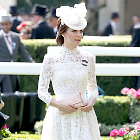 The Duchess of Cambridge wears white lace Alexander McQueen dress at Royal Ascot