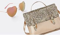 Glittery bag and heart sunglasses