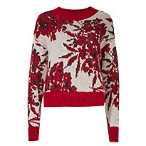Red and white floral-jacquard jumper