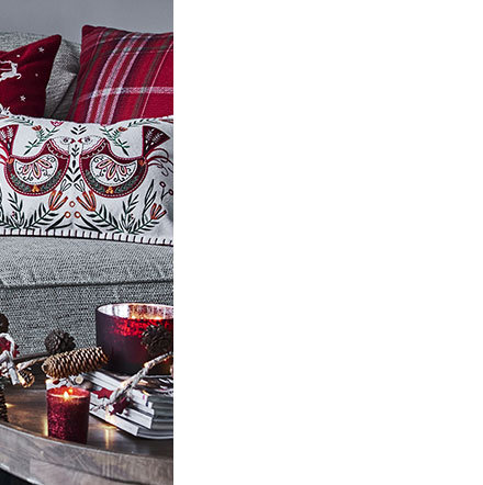 Living Room Christmas Cushions And Throw On Sofa