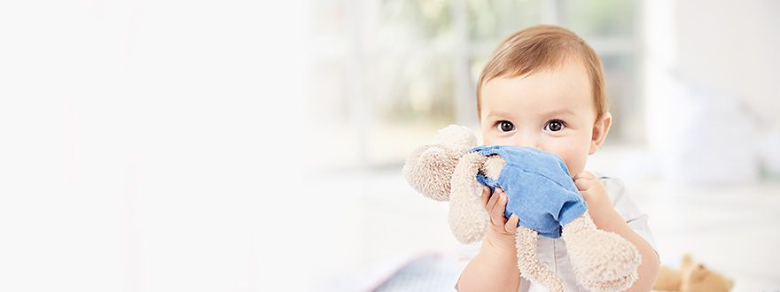 Baby girl holding a cuddly toy