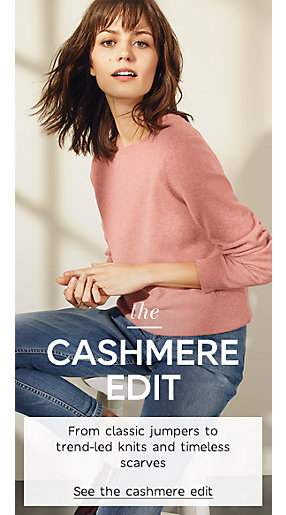 Model wears cashmere jumper