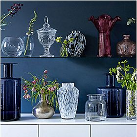 Vases on shelving