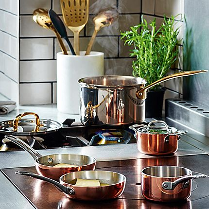 Pans on a hob from the M&S Chef range