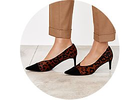 Leopard-print midi heel shoes