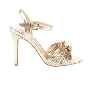 Metallic gold heels with knot detail