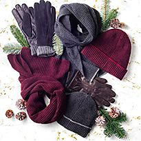 Various hats, gloves and scarves