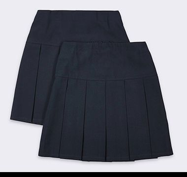 M&S school skirt with stain-resistant fabric and permanent pleats
