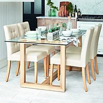 Laid glass and wood dining table and dining chairs