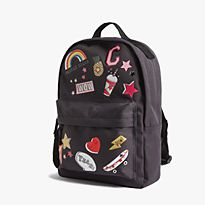 Grey printed school backpack
