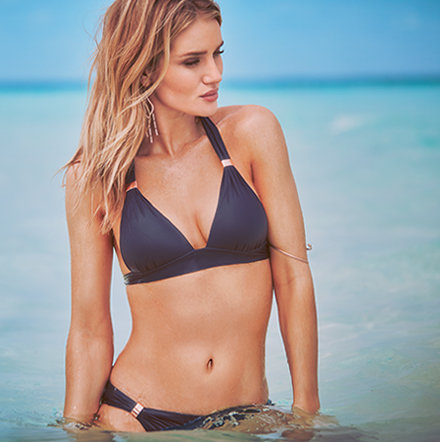 Rosie Huntington-Whiteley models navy bikini