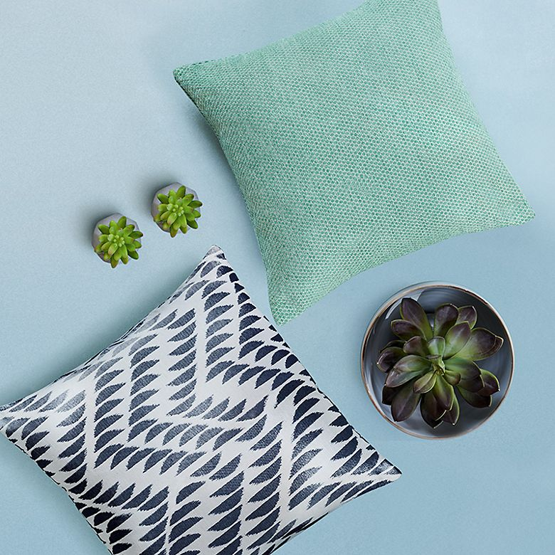Plain and patterned cushions