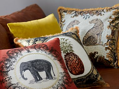 Elephant and pineapple cushions